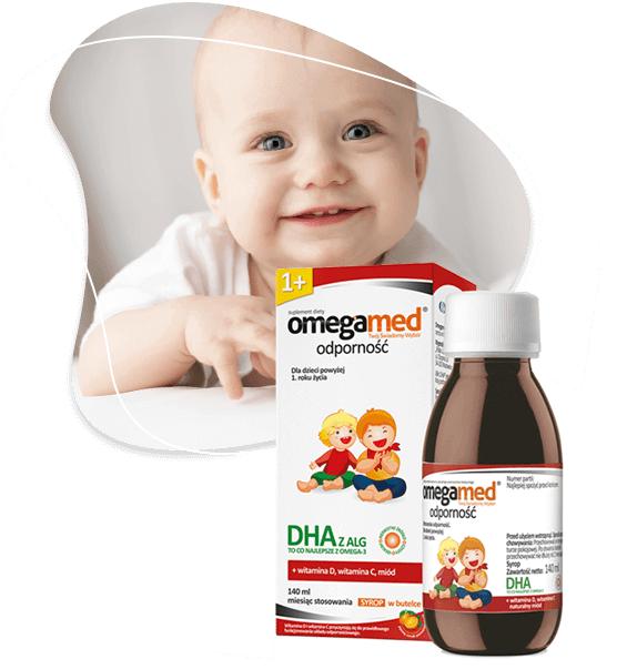 Usmiechniete dziecko i buteleczka Omegamed